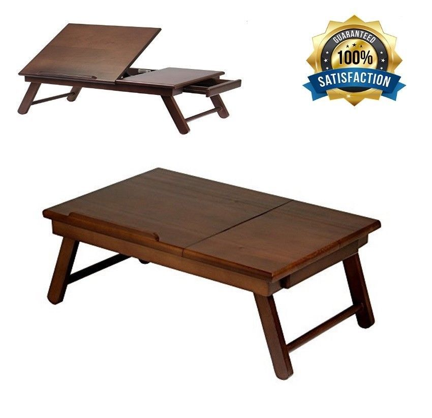 Folding Wood Laptop Table Lap Desk Portable Computer Tray Stand