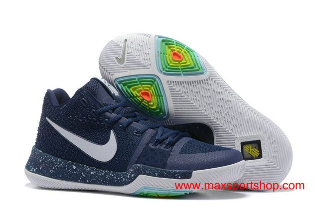 39f1bb4efeef 2017 New Nike Kyrie 3 Dark-blue White Basketball Shoes For Men  76.00