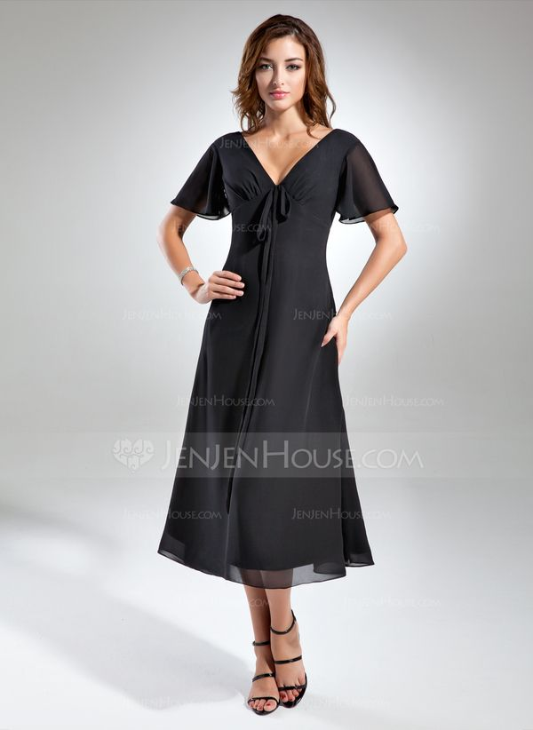 A Line Princess V Neck Tea Length Ruffle Bow S Zipper Up Sleeves Short Black Summer General Plus Chiffon Mother Of The Bride Dress