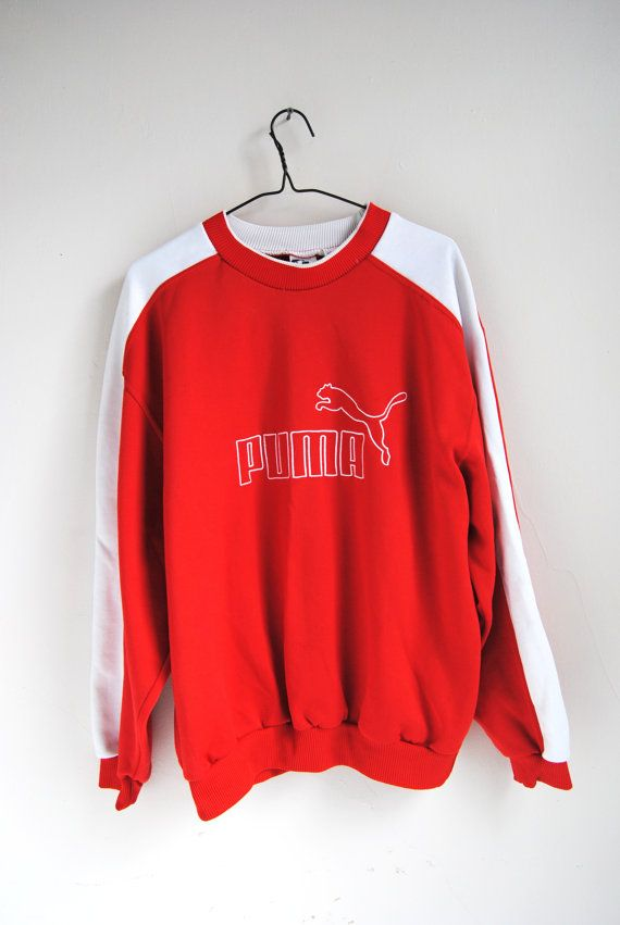 176b0c1bd372 Vintage Puma sweatshirt from the 1990s with baseball inspired details. Made…
