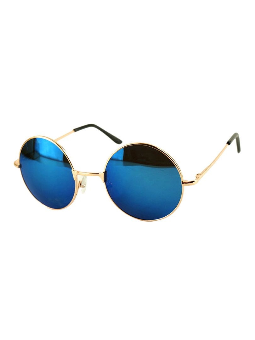4fead2badf7 Blue Round Lens Sunglasses With Metal Frame
