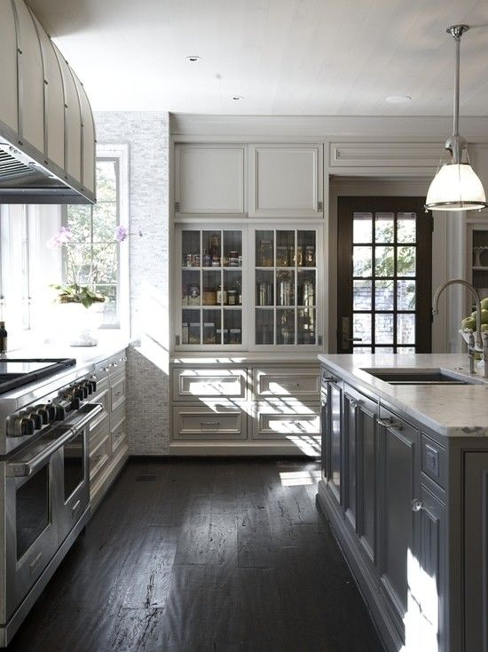 Mountain Brook Renovation Tracery Interiors - Light grey kitchen cabinets dark floor