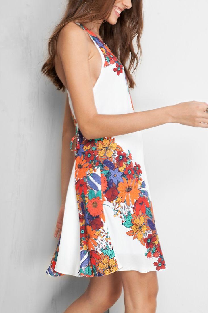 vestido amarração lateral estampado joy
