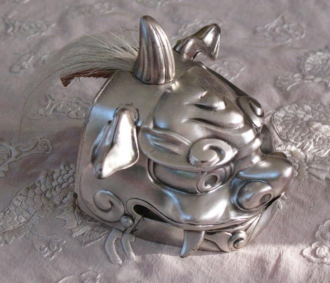 JAPANESE SHISHI | Japanese sterling silver SHISHI-mai mask card holder chopstick sign ...