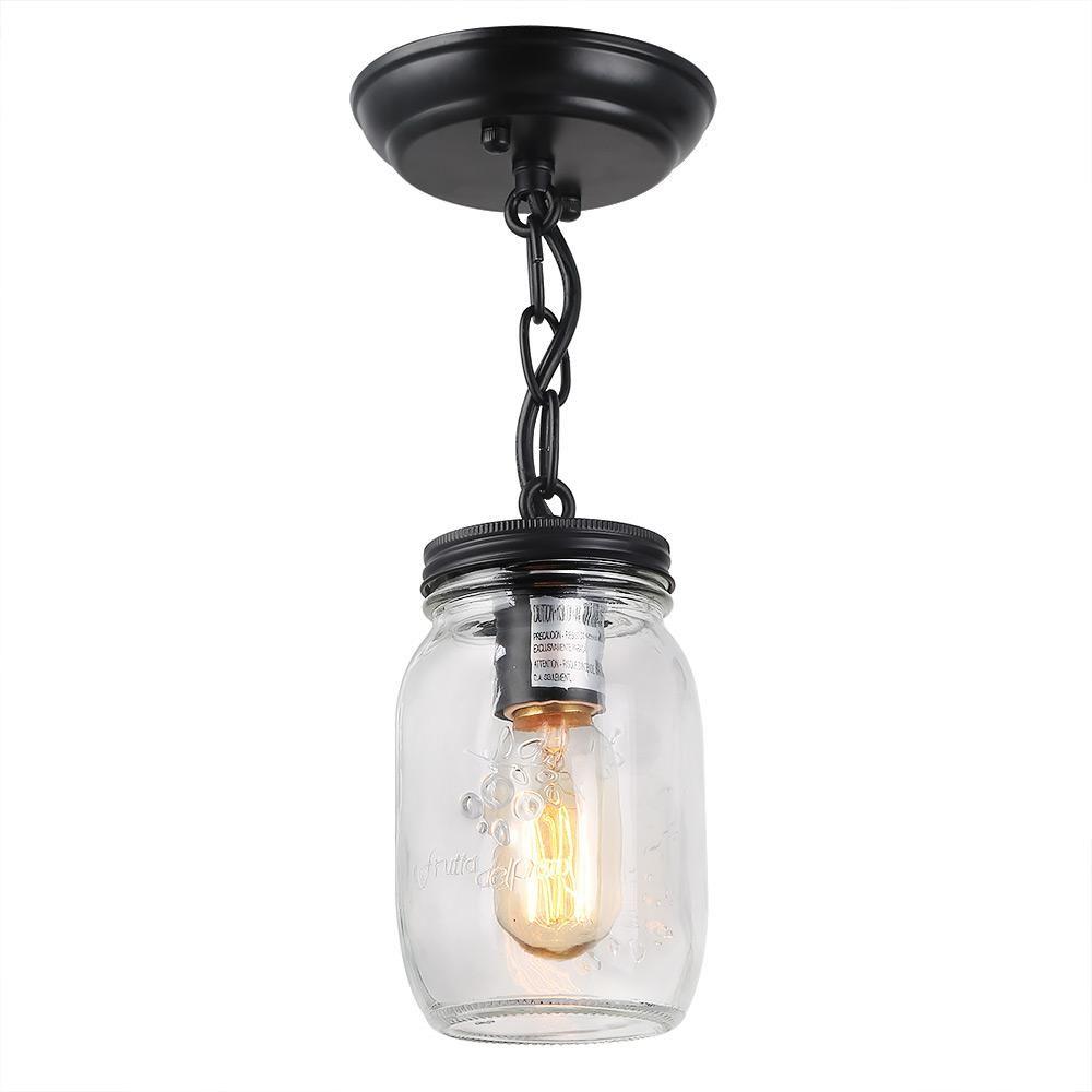 Lnc 1 Light Bronze Glass Jar Pendant Semi Flush Mount Light A03220 The Home Depot Jar Ceiling Light Mason Jar Chandelier Mason Jar Lighting