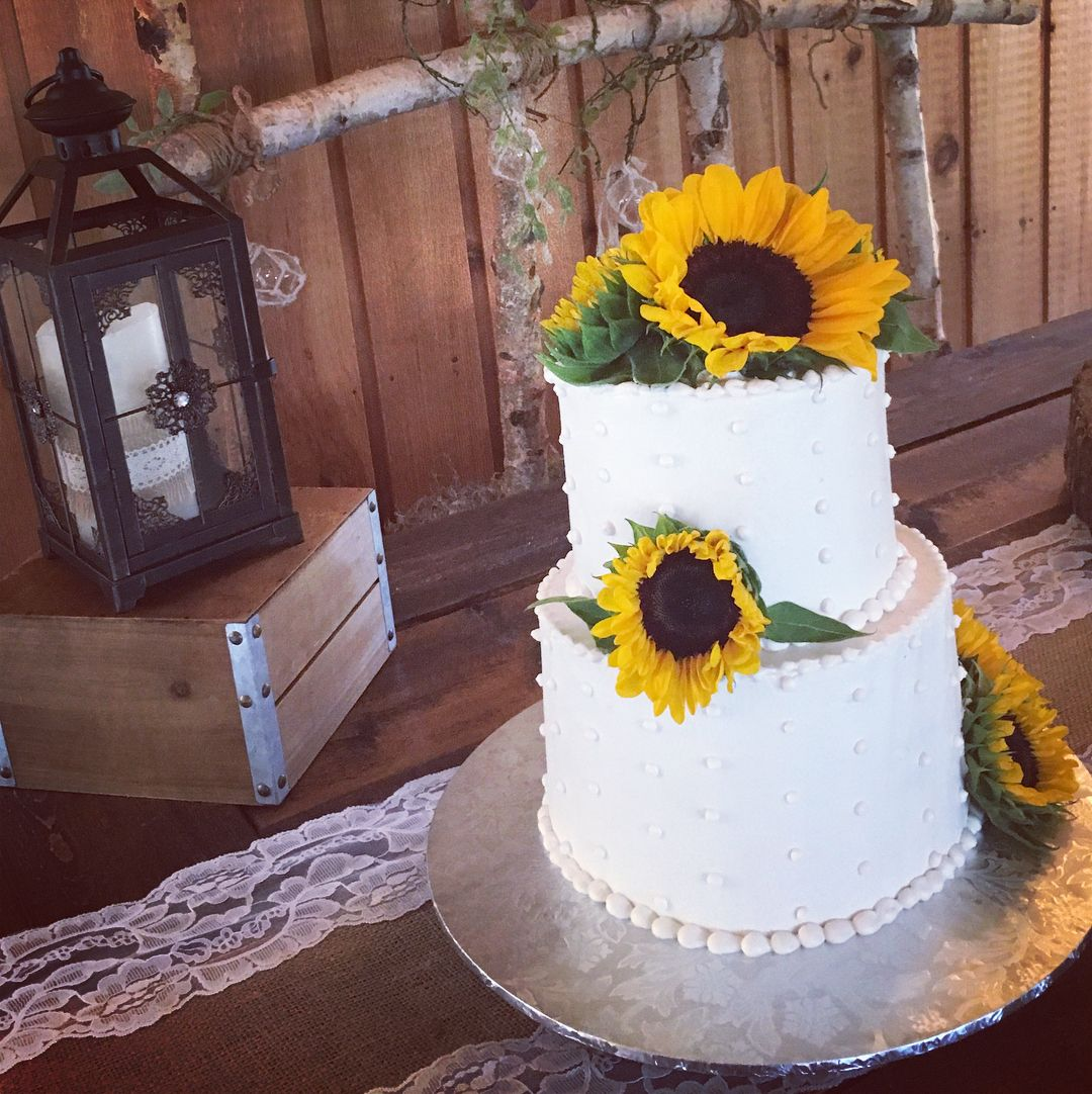 Sunflower Wedding Cake Ideas: A Lovely 2 Tiered Wedding Cake Decorated With A Swiss Dot