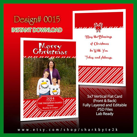 Christmas Card Template Photo Size X For Photoshop Psd Layers