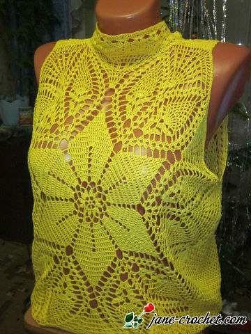 jane-crochet.com – Sunny yellow crochet top