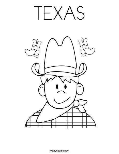TEXAS Coloring Page - Twisty Noodle | Coloring pages, Star ...
