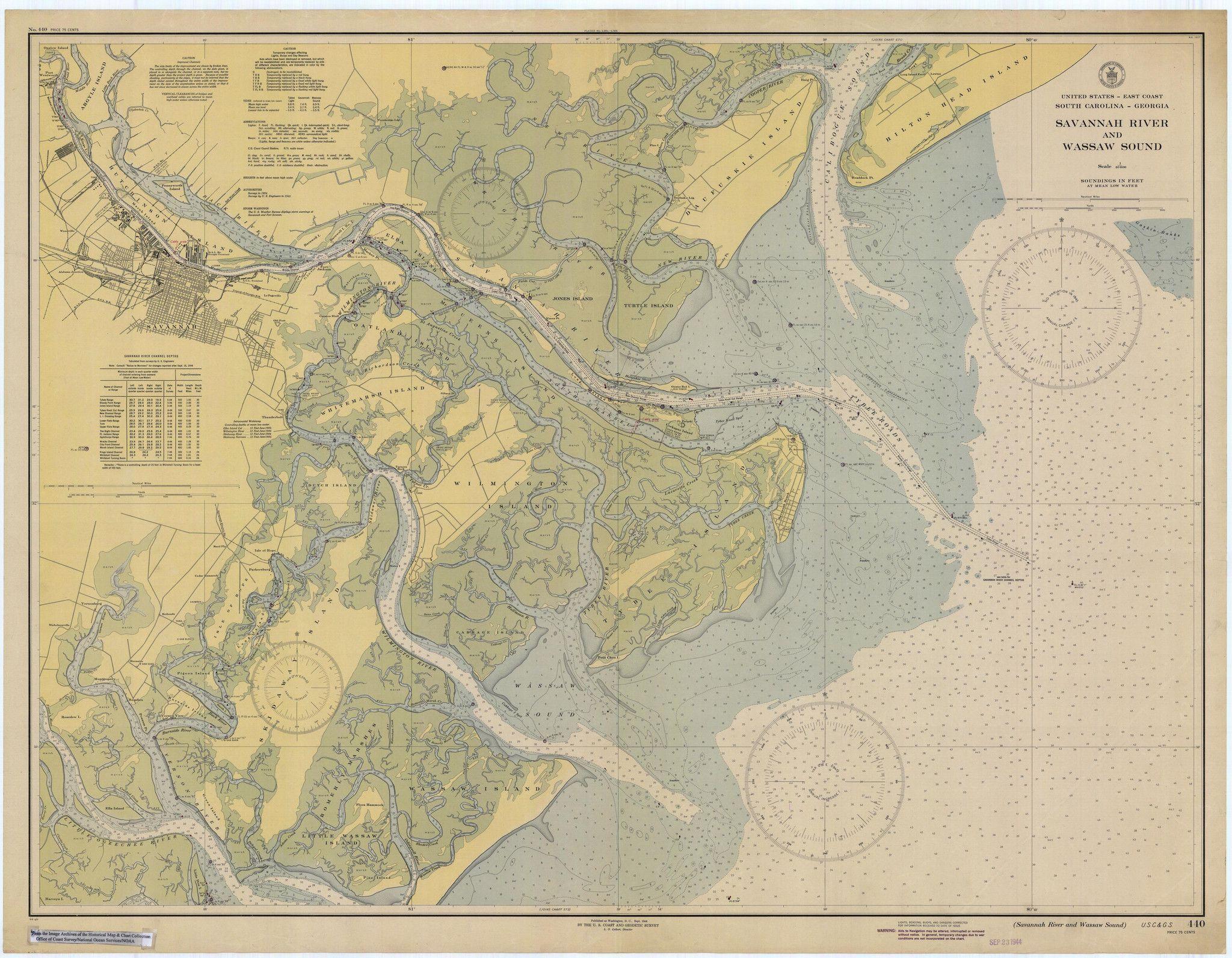 Tybee Island Savannah River Historical Map Tybee Island - Savannah river us map