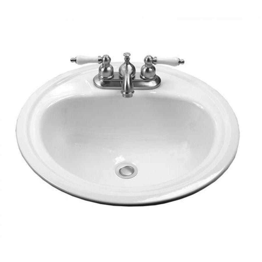 Crane 19 Round Enameled Steel Atlanta Drop In Bathroom Sink