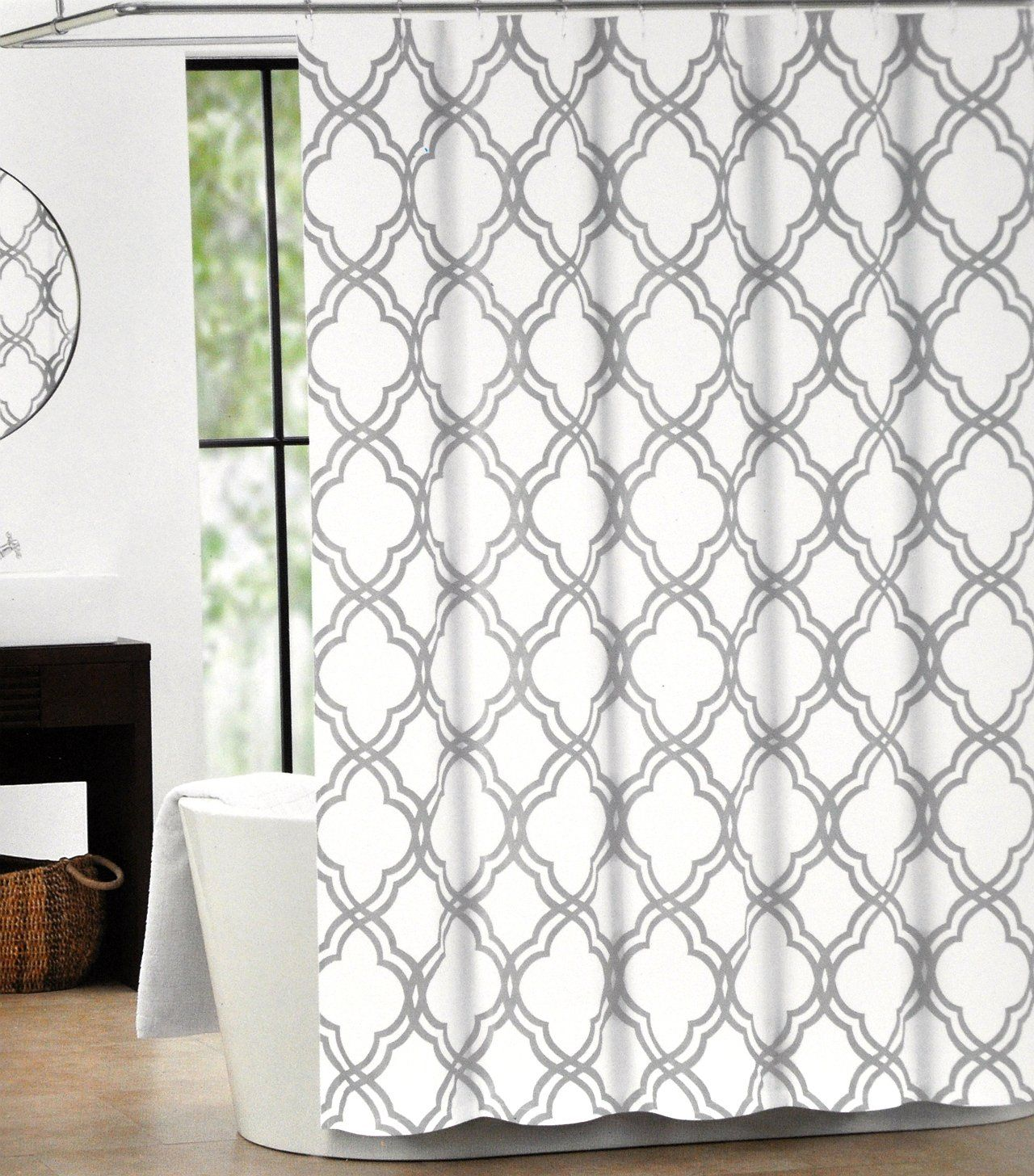 Amazon.com   Tahari Home Cotton Shower Curtain Moroccan Tile Quatrefoil  Silver Gray And White Lattice 72 Inch By 72 Inch