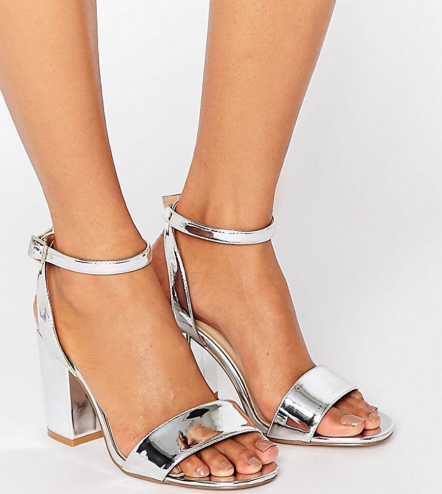 e935d08e6c5 ASOS HERON Wide Fit Heeled Sandals - Silver