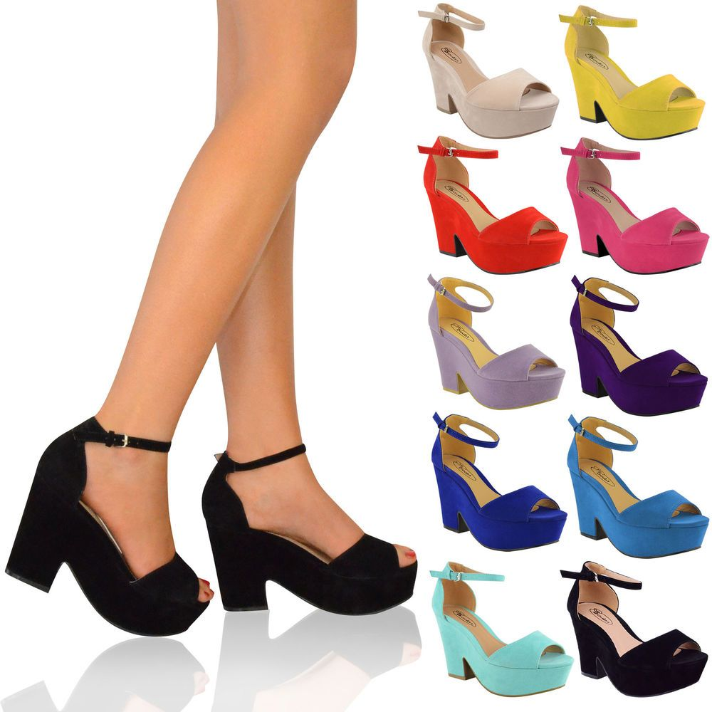 7f1d2278ec5a9 LADIES WOMENS HIGH MID HEEL PLATFORM FLATFORM ANKLE STRAP WEDGE SHOE SANDAL  SIZE in Clothes, Shoes & Accessories, Women's Shoes, Heels | eBay 20