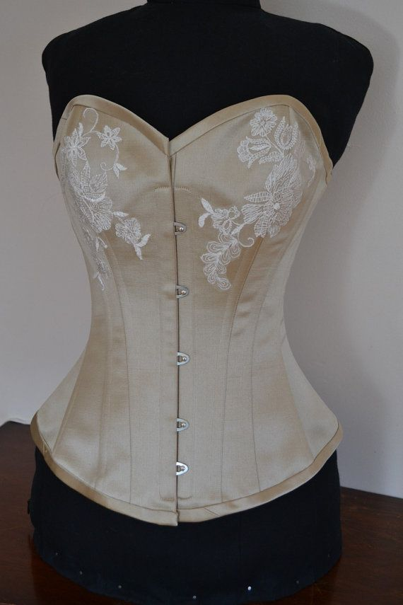 Gold Satin Wedding Corset with Lace Applique by WickedGraceful
