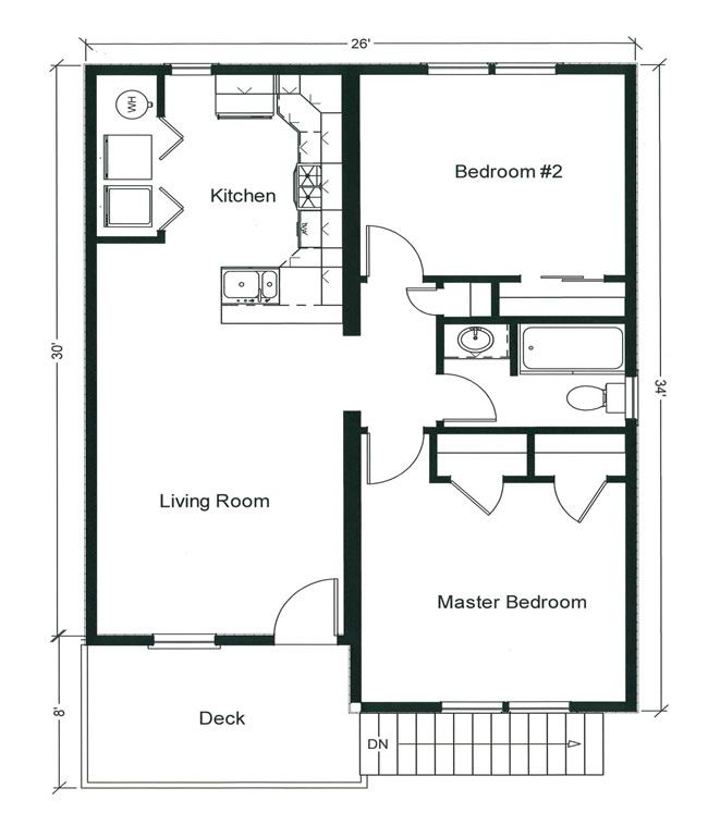 Amazing 2 Bedroom Bungalow Floor Plan | ... Plan And Two Generously Sized Bedrooms,  Plus An 8u0027 X 13u0027 Open Deck