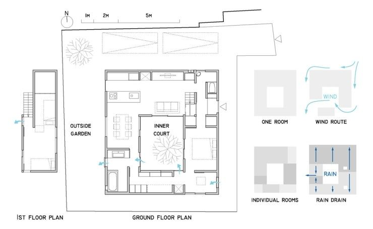 중정을 품은 목조 단독주택 평면도 집 주택평면도