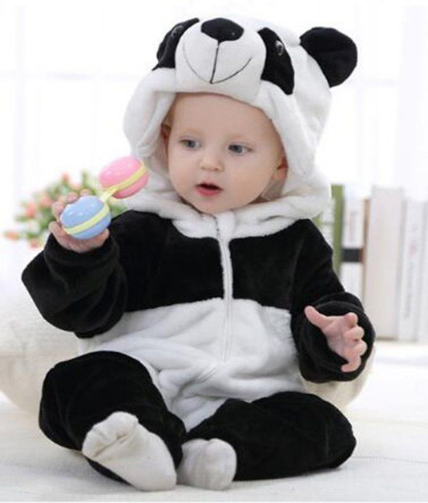 107378274dc2 Toddler Newborn Baby Boys Girls Panda Cartoon Hooded Rompers Outfits ...