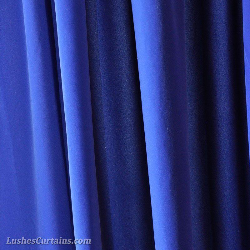 Royal Blue Flock Velvet Curtain Panels Cortinas Azules de - cortinas azules