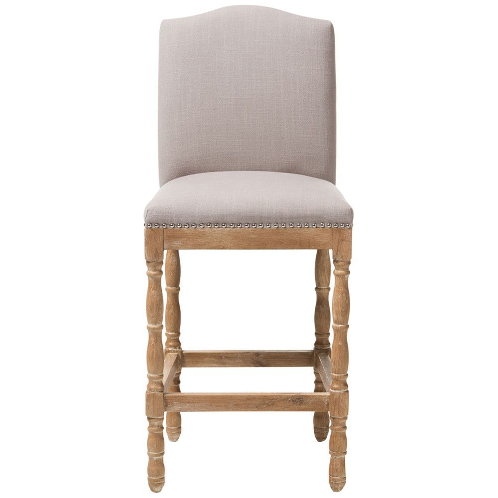 Baxton Studio Paige Bar Stool in Weathered Oak and Beige
