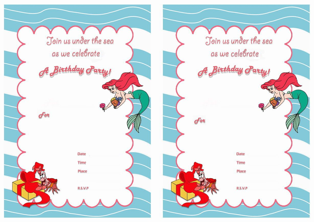 Little Mermaid FREE Printable Birthday Party Invitations Birthday - Little mermaid birthday invitation template