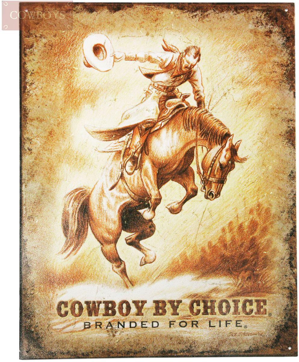 Placa De Metal Cowboy By Choice Placa publicitária decorativa em ...