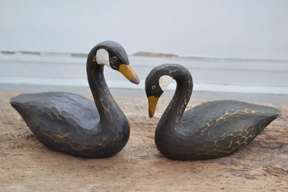 Set /2 PAIR BLACK SWAN Goose Duck Decoy Country Primitive Figurine Carved Resin...$18.99