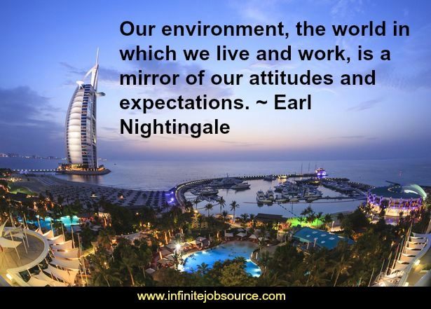 Earl Nightingale Quotes Our environment, the world in which we live and work, is a mirror of our attitudes and expectations.