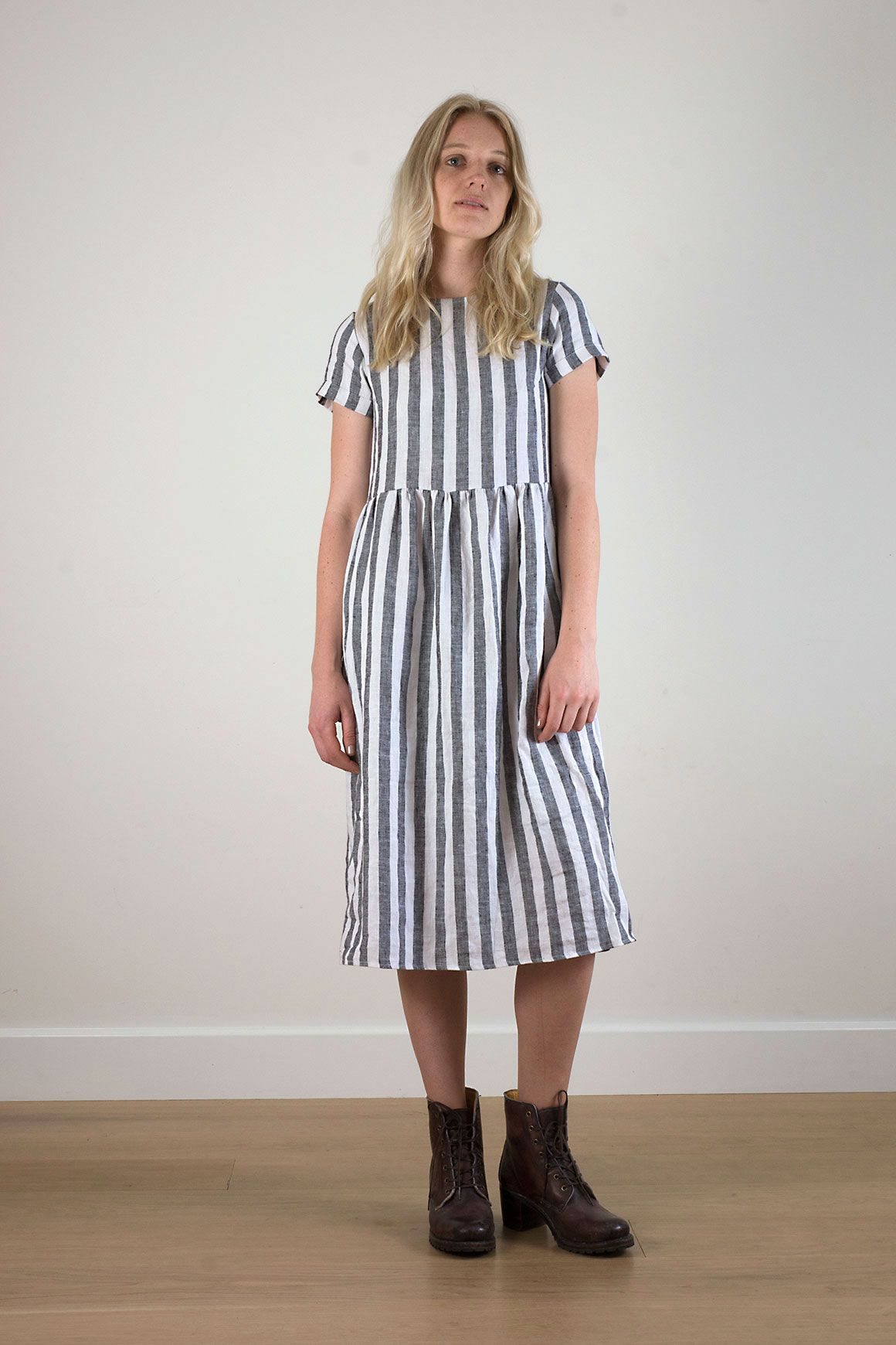 991fbe2cb479 Blue striped linen day dress. This dress is medium weight 100% linen ...