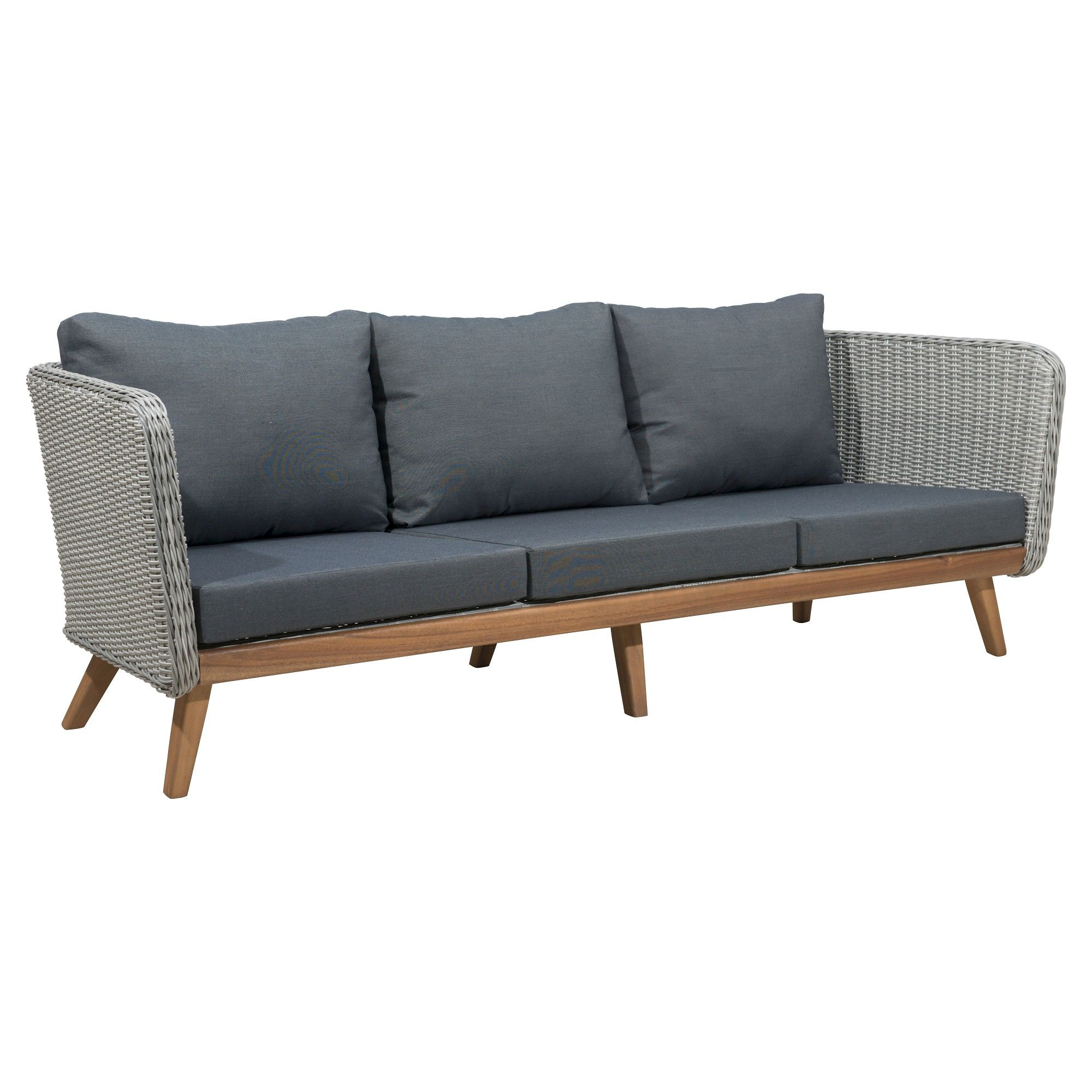 Mid century modern 86 outdoor sofa natural gray zm home