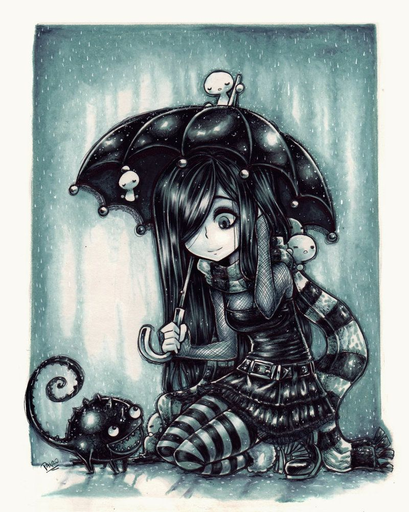 Friends In Rain Parororo Deviantart Gothic Art Drawings Emo