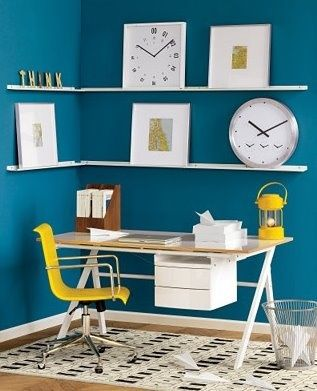 Modern Office Space With Blue Walls And Yellow Accents Modern Office Space Office Wall Colors Yellow Home Offices