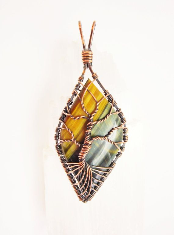 Wirewrapped Tree of Life Pendant Copper Tiger Eye Cabochon | Wire ...