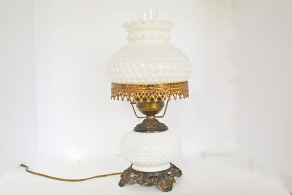 Vintage table lamp milk glass hobnail electric lamp milk glass lamp vintage brass light electrical lighting