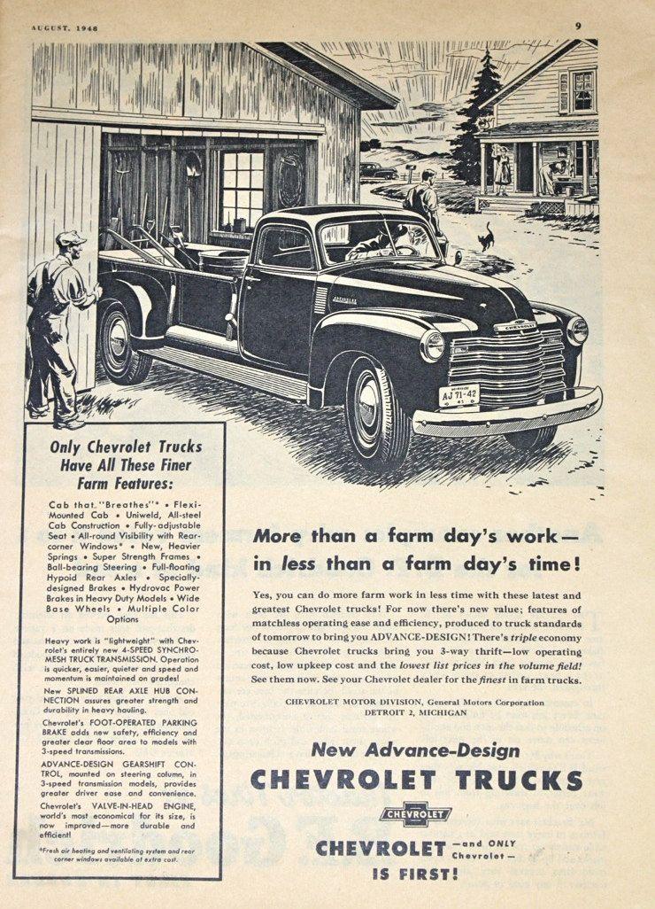 Chevrolet Truck Ad, Vintage 1940s Farmer's Journal Magazine Advertisement.