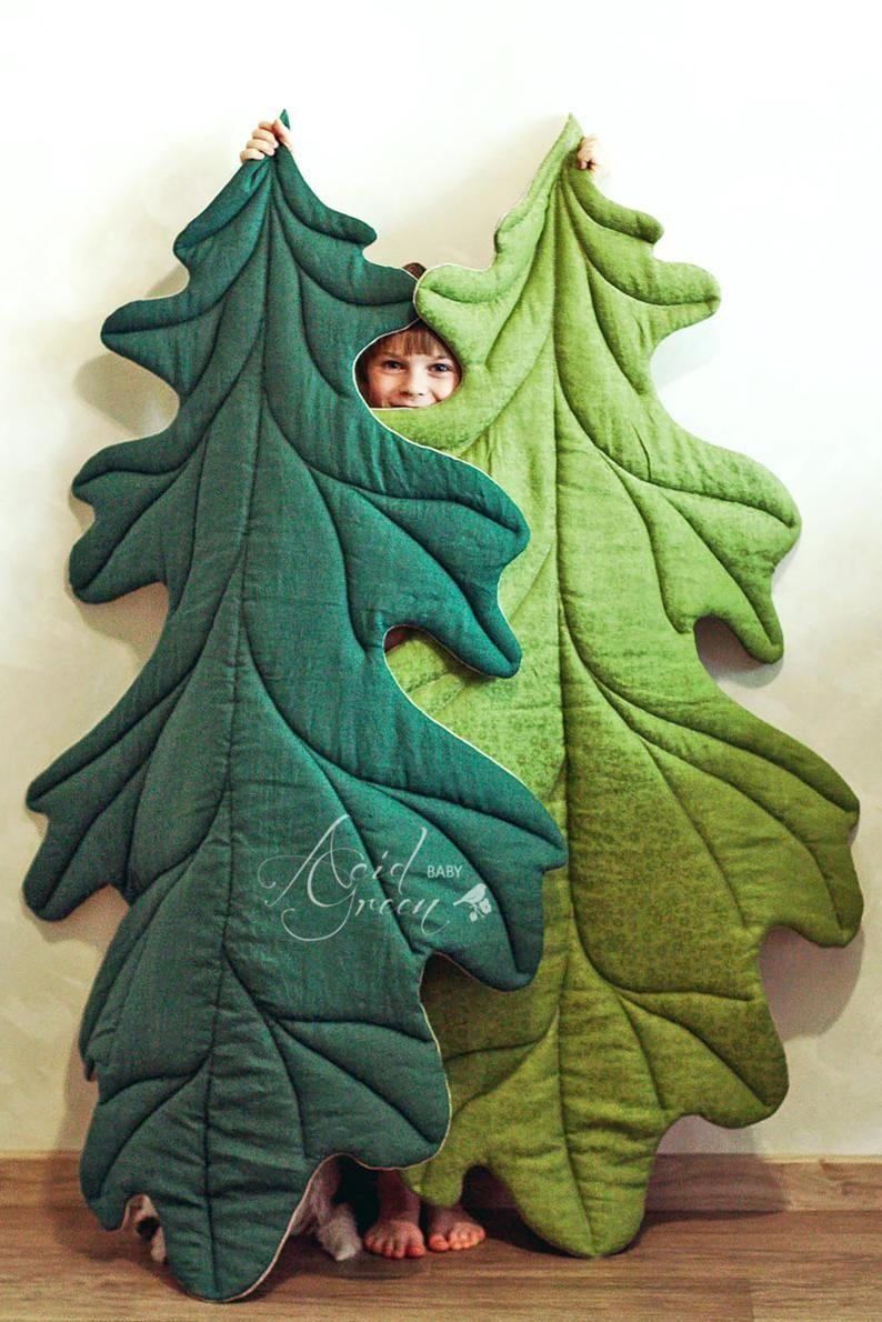 Photo of Linen play mat, MAXI, baby mat, baby rug, leaf mat, baby leaf mat, linen mat, linen rug, baby mat, nursery mat