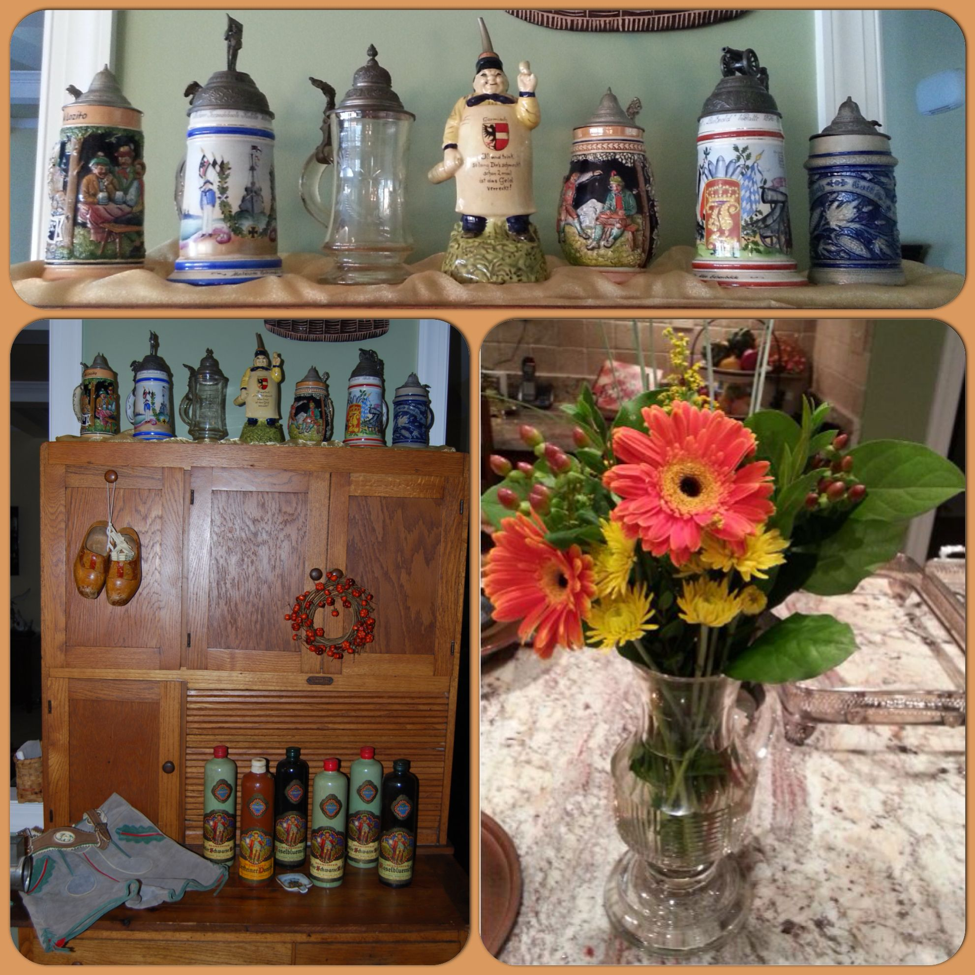 Vintage Italian Kitchen Decor: I Used Antique German Steins, Beameister Wine Bottles, A