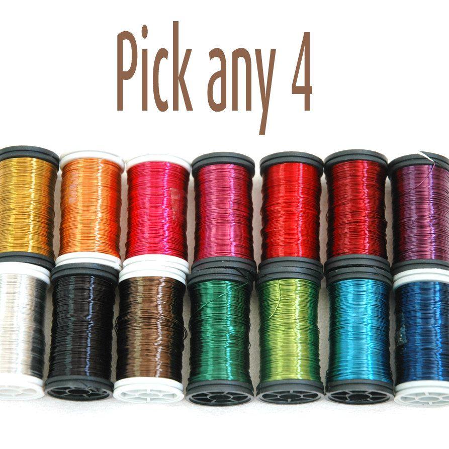 Copper wire 28 Gauge wire crochet supply 4 spools pick by Yoola ...