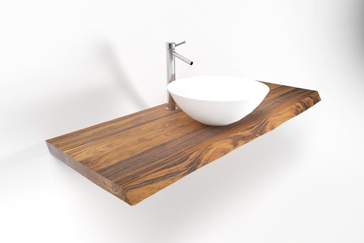 Waschtisch Nussbaum Mit Baumkante Nach Mass Waschtisch Waschtisch Holz Waschtisch Holz Gaste Wc