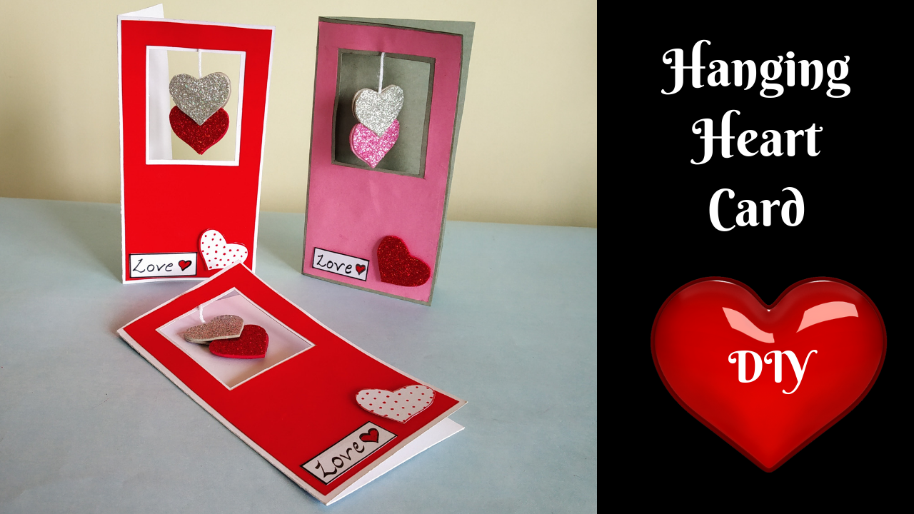 Hanging Heart Greeting Card Handmade Card Tutorial Quick And Easy Diy Simple Cards Handmade Cards Handmade Greeting Cards Handmade