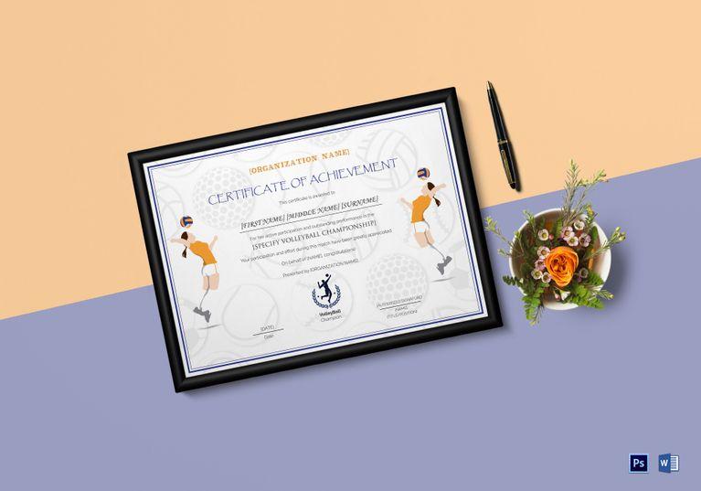 Girls Volleyball Certificate Template Certificate Design Template