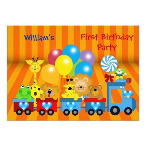 Boy first birthday 1st train zoo animals party card zoo animal boy first birthday 1st train zoo animals party card stopboris Image collections