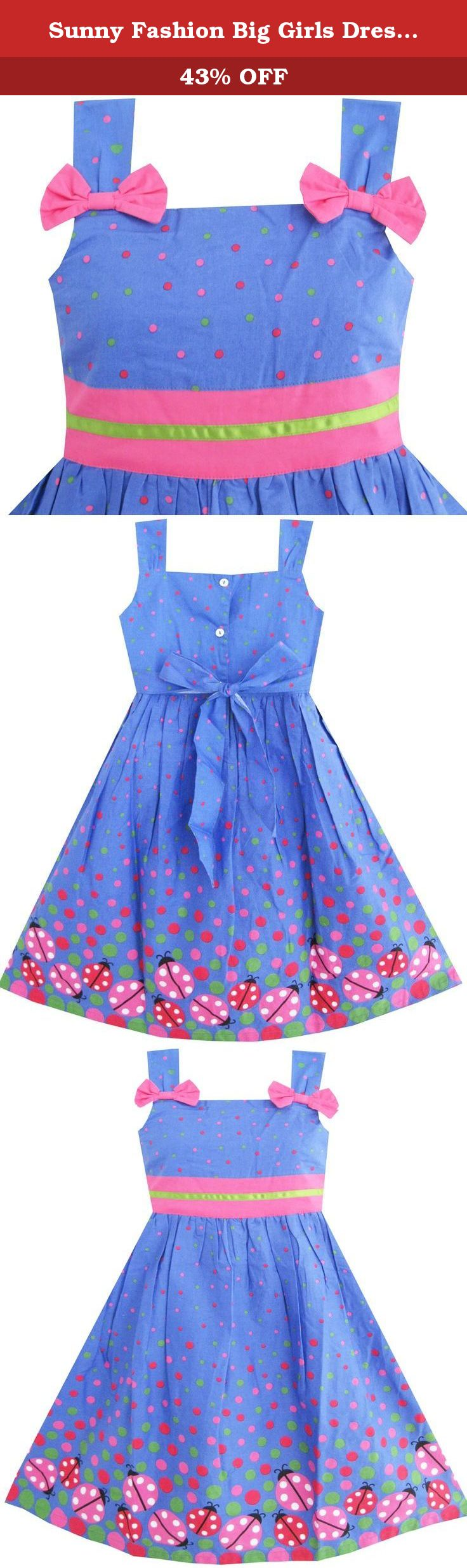 Sunny Fashion Big Girls Dress Bug Pink Dot, Blue, 7. Knee length. Machine washable. Made in china. Following size means age ranges for girls, they are for general guidance only. For most accurate fit, we recommend checking detailed measurement before purchase.