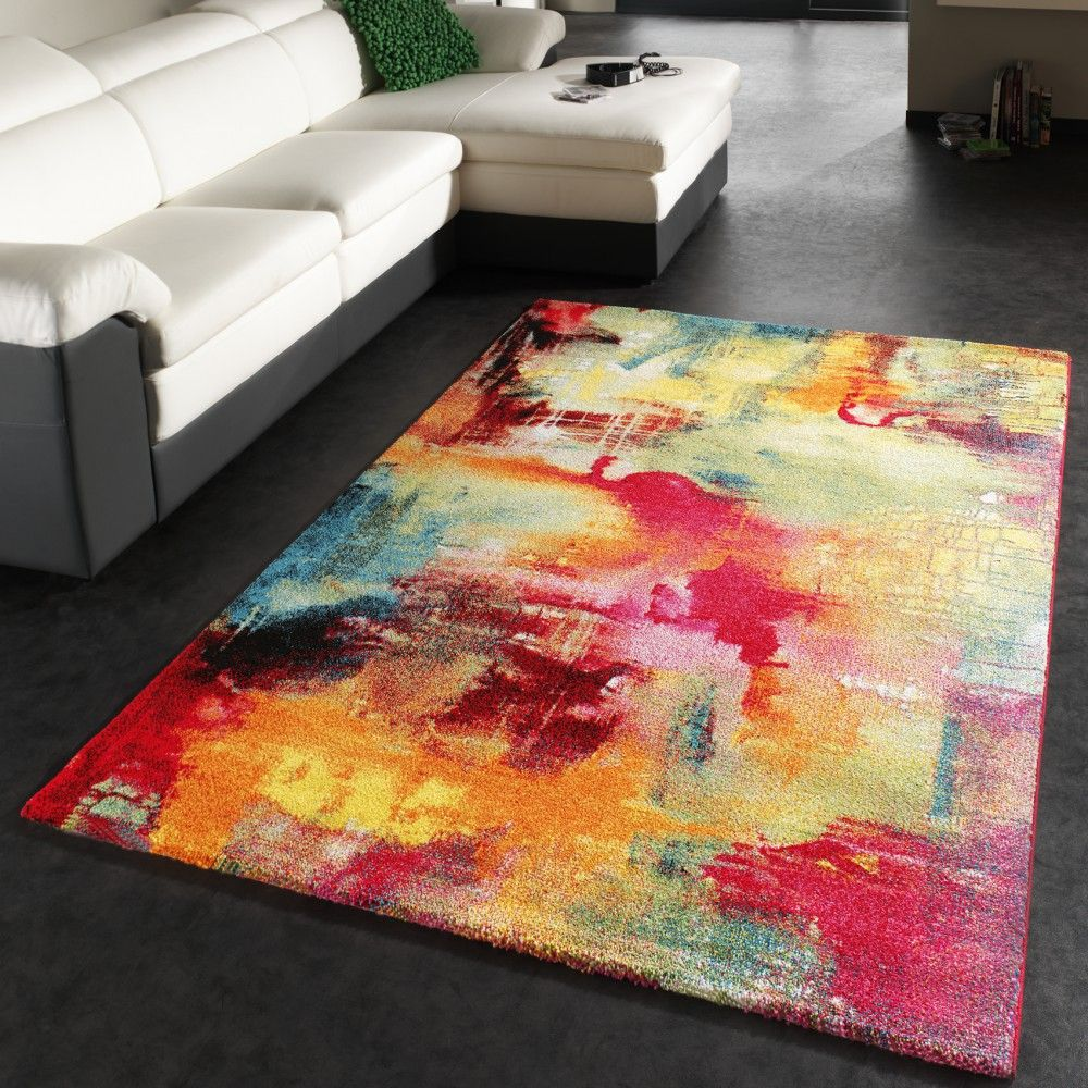 teppich modern design teppich leinwand optik multicolour grn blau rot gelb - Wohnzimmer Teppich Blau