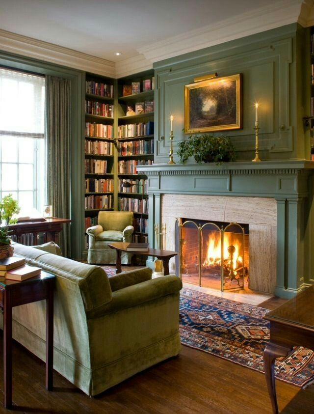 Beautiful Home Library with Fireplace