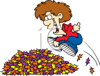 A Boy Jumping Into A Pile Of Leaves Cartoon Image Free Clipart Images Royalty Free Clipart Clip Art
