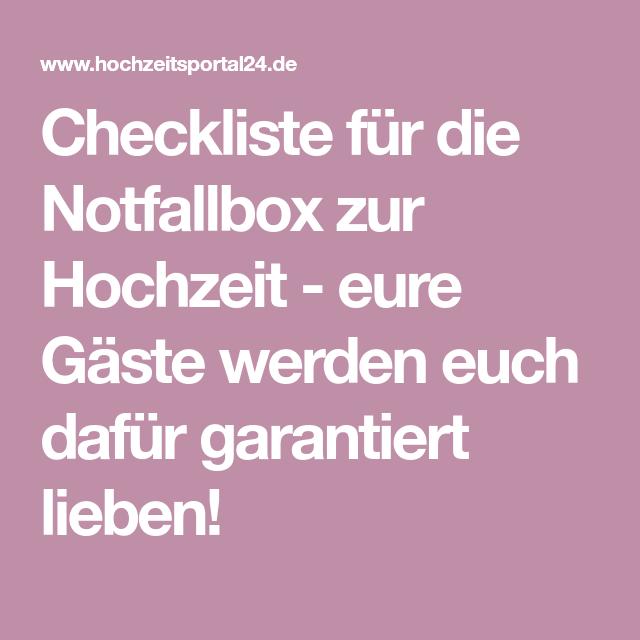 Checkliste für die Notfallbox zur Hochzeit - eure Gäste werden euch dafür garantiert lieben!