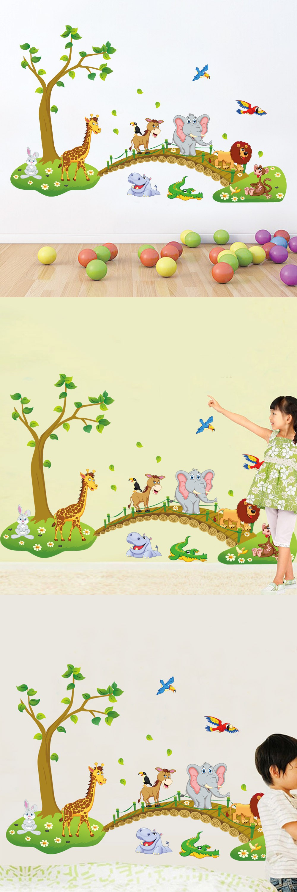 Cute Jungle Animals words Wall Sticker for Kids Rooms Child DIY ...