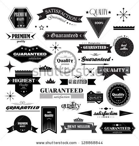 Retro Design Elements. Labels In Retro Style Isolated On White ...