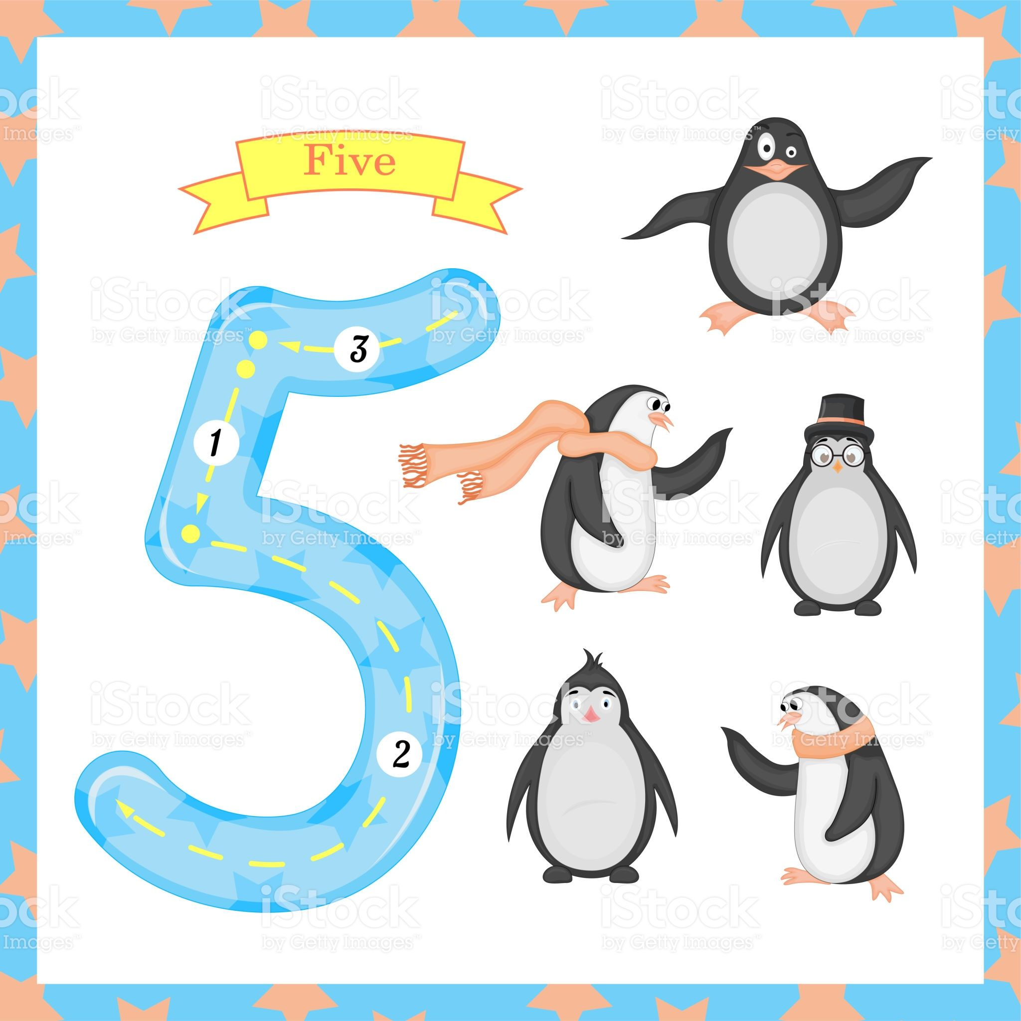 Cute Children Flashcard Number One Tracing With 5 Penguins